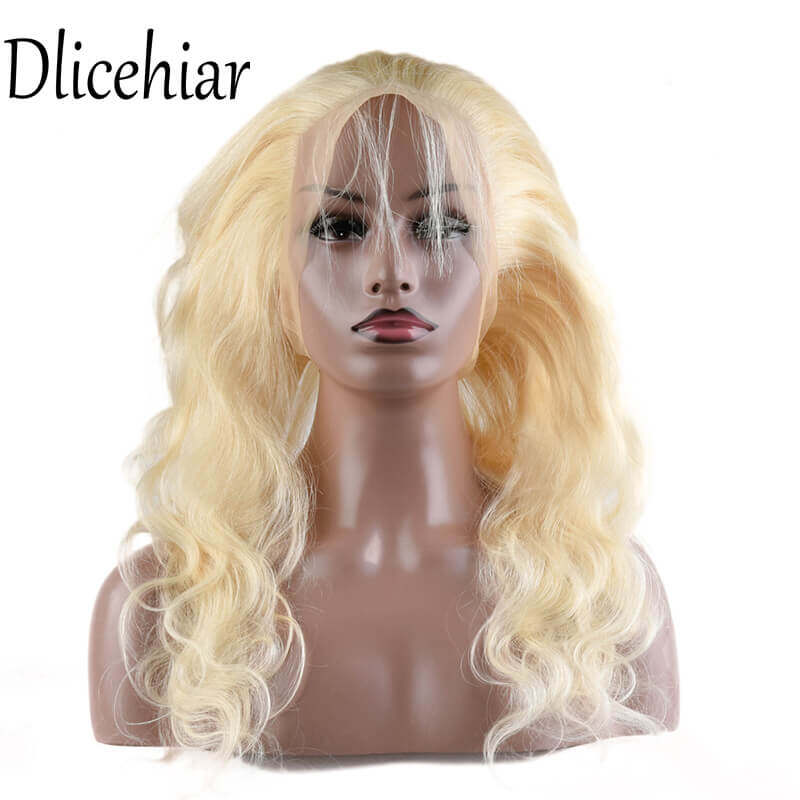 [10A 3+1] 100% human hair #613 Brazilian Body Wave Blonde bundles with frontal Closure 3