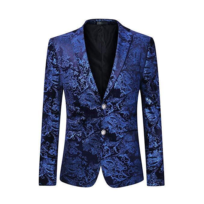 Men's Dress Floral Suit Notched Lapel Slim Fit Stylish Blazer Dress Suit Wedding Prom Men Suits 1