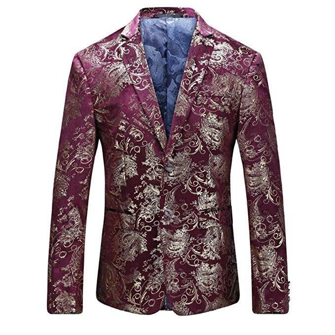 Men's Dress Floral Suit Notched Lapel Slim Fit Stylish Blazer Dress Suit Wedding Prom Men Suits 2