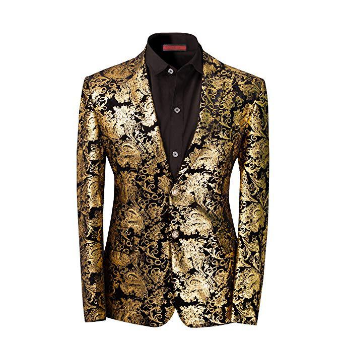 Men's Dress Floral Suit Notched Lapel Slim Fit Stylish Blazer Dress Suit Wedding Prom Men Suits 3