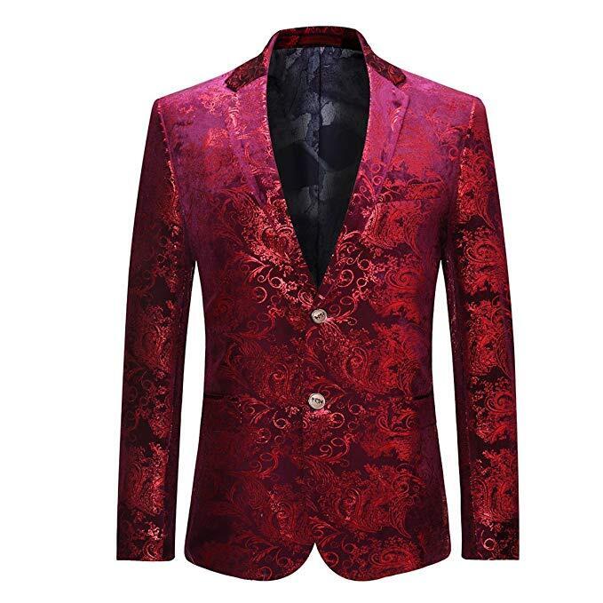 Men's Dress Floral Suit Notched Lapel Slim Fit Stylish Blazer Dress Suit Wedding Prom Men Suits 0