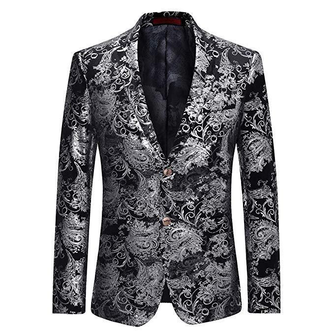 Men's Dress Floral Suit Notched Lapel Slim Fit Stylish Blazer Dress Suit Wedding Prom Men Suits 4