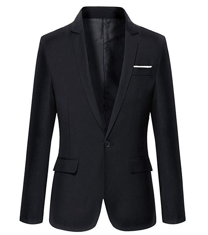 Mens Slim Fit Casual One Button Blazer Jacket Men Suits 2