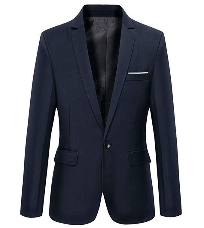 Mens Slim Fit Casual One Button Blazer Jacket Men Suits 5