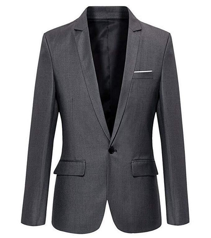 Mens Slim Fit Casual One Button Blazer Jacket Men Suits 3