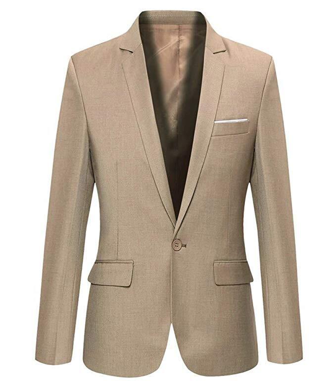 Mens Slim Fit Casual One Button Blazer Jacket Men Suits 4