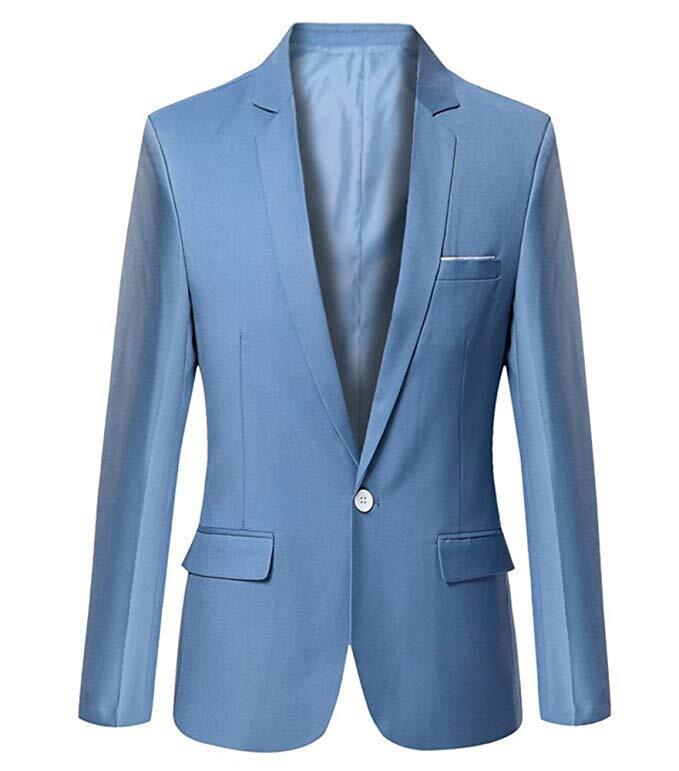Mens Slim Fit Casual One Button Blazer Jacket Men Suits 1