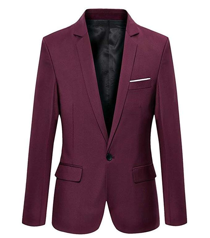 Mens Slim Fit Casual One Button Blazer Jacket Men Suits 6