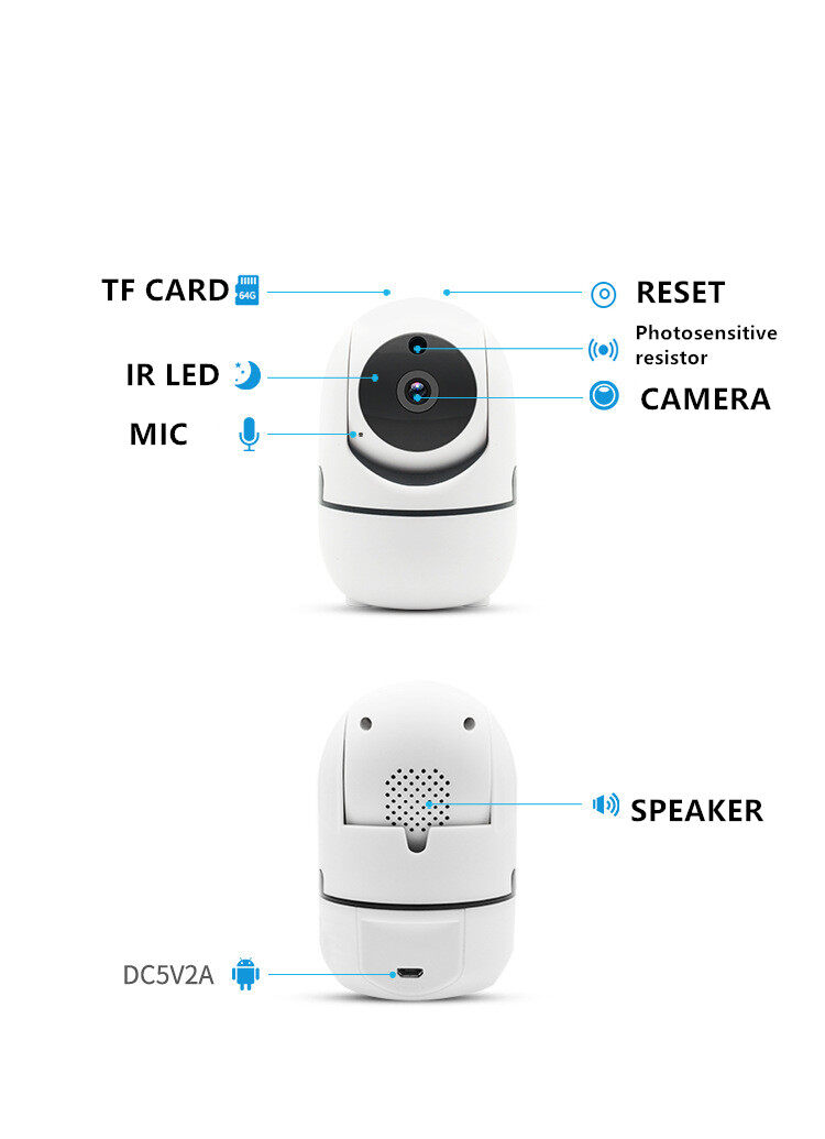 Wifi Camera 360Degree Fisheye Indoor PTZ IP Camera 1080P Home Security CCTV Came 2