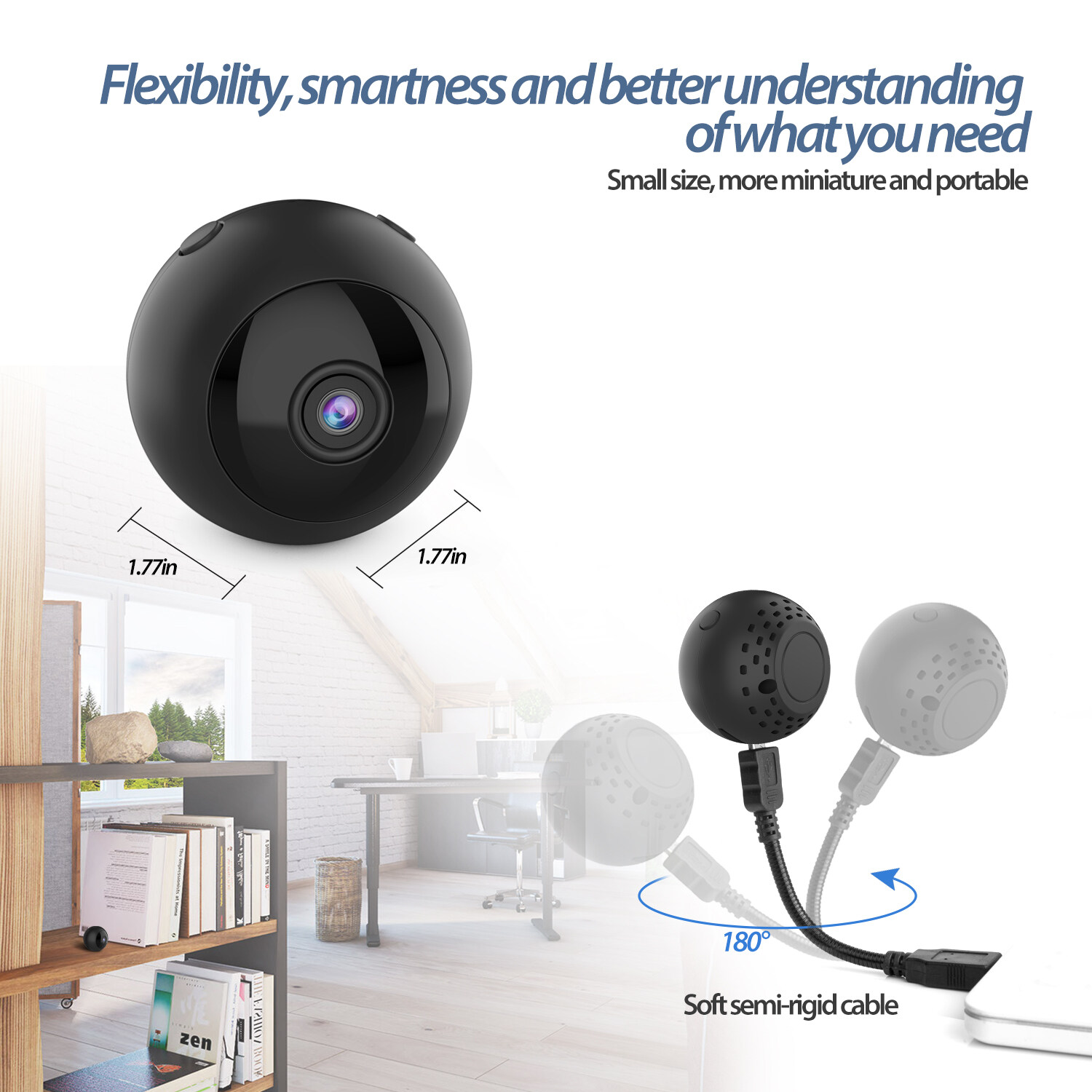 W8 Mini Wifi Camera Hd 1080p Magnet Bracket 150 Degree Wide Angle Night-Vis E3T6 2