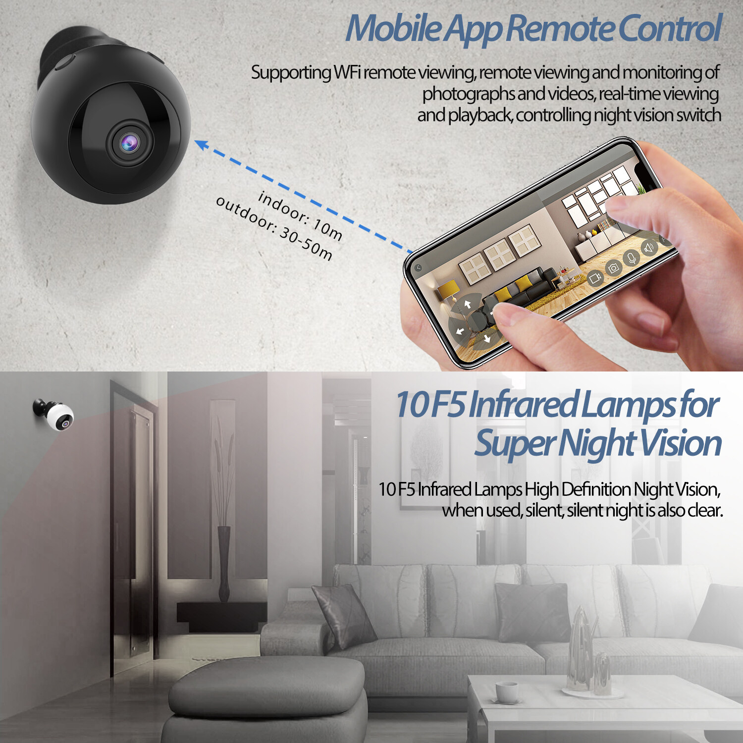 W8 Mini Wifi Camera Hd 1080p Magnet Bracket 150 Degree Wide Angle Night-Vis E3T6 4