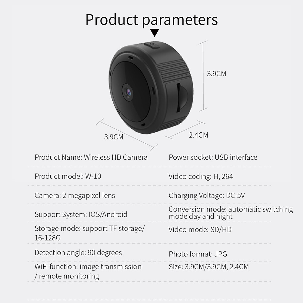 free shipping W10 Mini Wifi Camera Hd 1080p Magnet Bracket 150 Degree Wide Angle Night-Vis E3T6 3