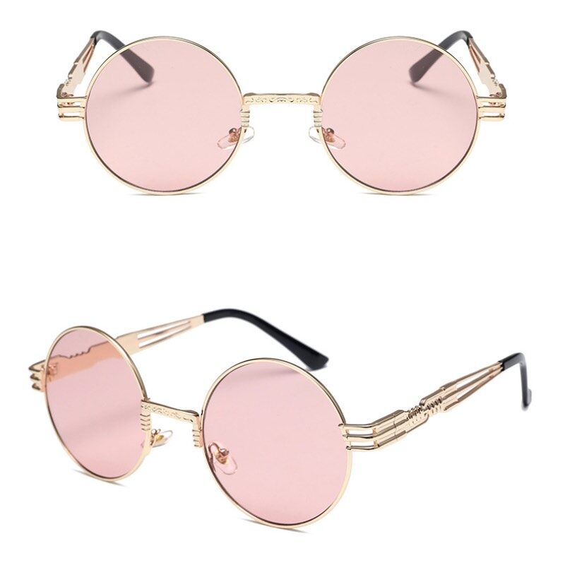 Punk Metal Frame Sunglasses Round Frame With Spring Temples Vintage Sun Glasses 2