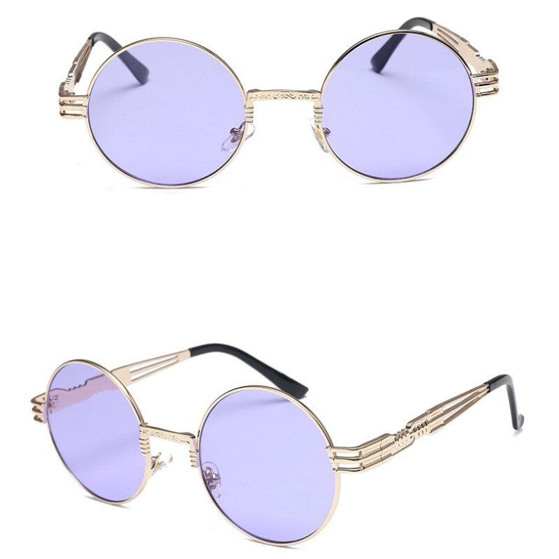 Punk Metal Frame Sunglasses Round Frame With Spring Temples Vintage Sun Glasses 5