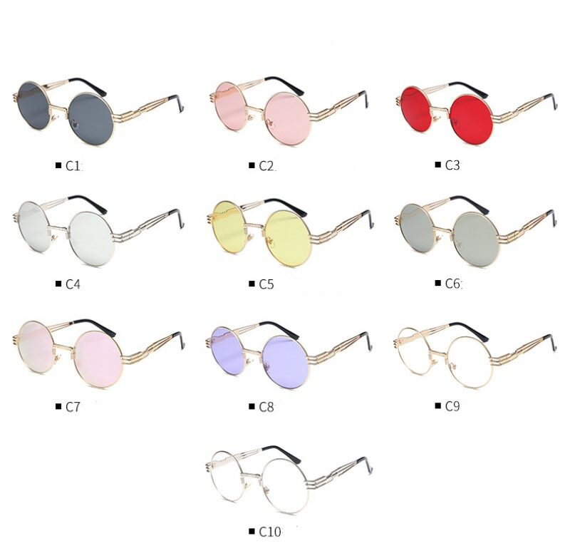 Punk Metal Frame Sunglasses Round Frame With Spring Temples Vintage Sun Glasses 7