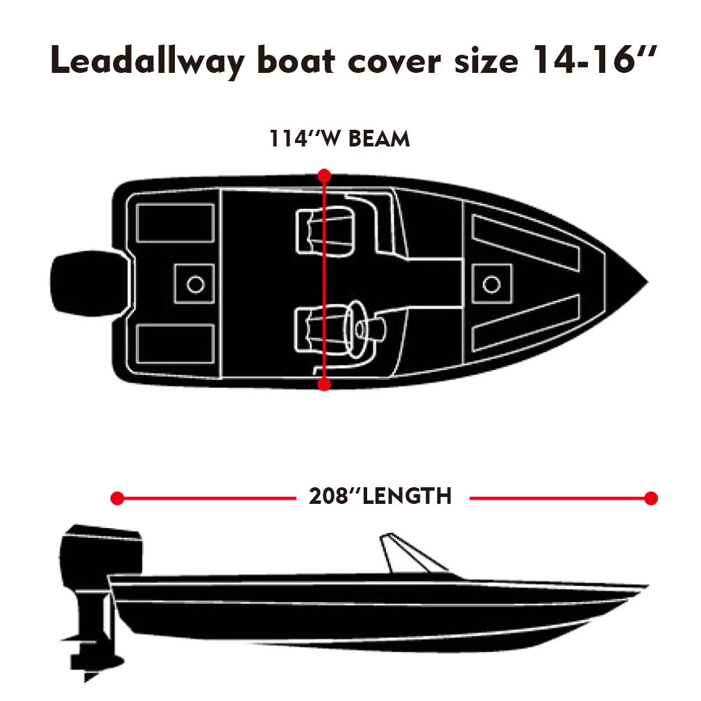 LEADALLWAY Heavy Duty 600D Polyester Cover Marine Grade Trailerable Boat Cover,Fits V-Hull Tri-Hull Runabouts and Bass Boats,Gray