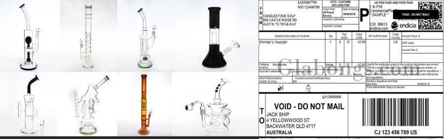 How do I get a glass bong from the Internet and make it go through customs