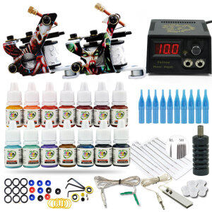 Complete Tattoo Kit 2 Tattoo Machines Gun 20colors Ink Set Power Supply Grips Body Art Tools Tattoo Permanent Makeup kits