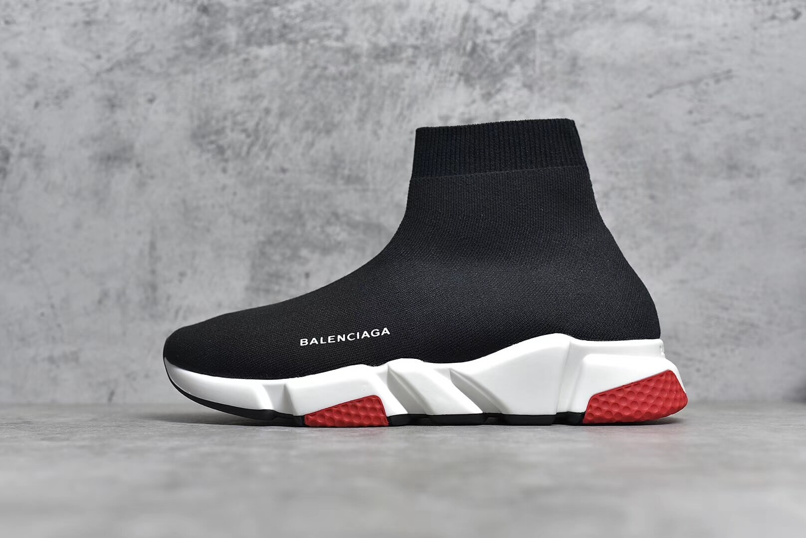 c1062d1f5a6 Balenciaga Speed Trainers With Tricolor Sole Knit Sock Effect Black Red