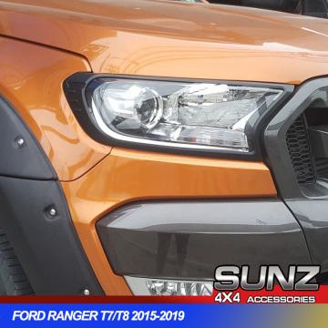 Black Headlights Surrounds Cover Trim For Ford Ranger Wildtrak Everest Endeavour 2016 2017 2018 2019