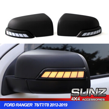 Running LED lights Mirror Covers For Ford Ranger 2012-2019 2020 T6 T7 T8 Wildtrak Double Cabin