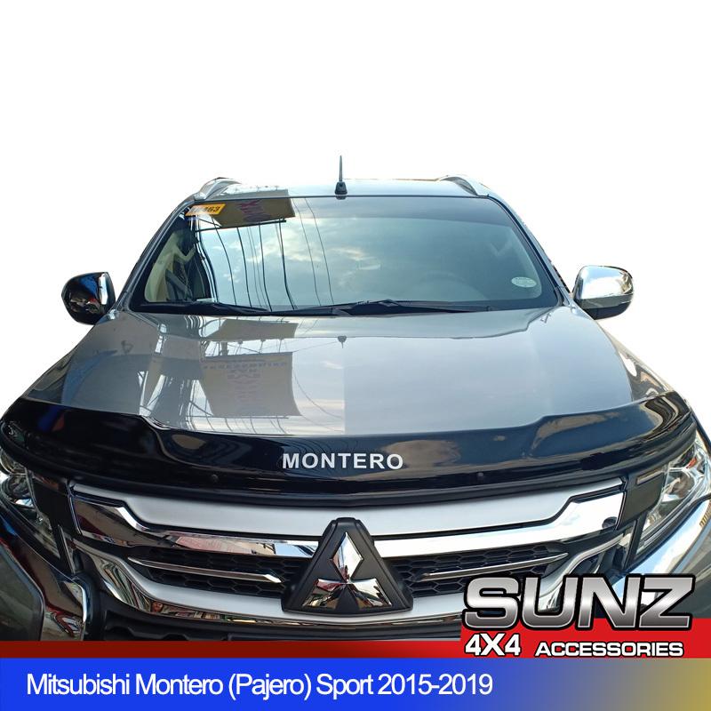 Acrylic Bonnet Guard Bonnet Protector Mud Guard Black for Mitsubishi Pajero Montero Sport 2017 2018 2019 2020