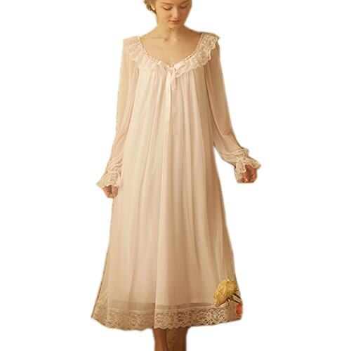 Girls Kids Pajamas Nightdress Long Sleeve Lace Nightwear  Cotton Nightgown