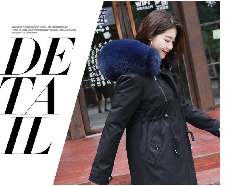 Womens Slim Warmest Winter Coat Luxurious Big Fur Collar Winter Jacket
