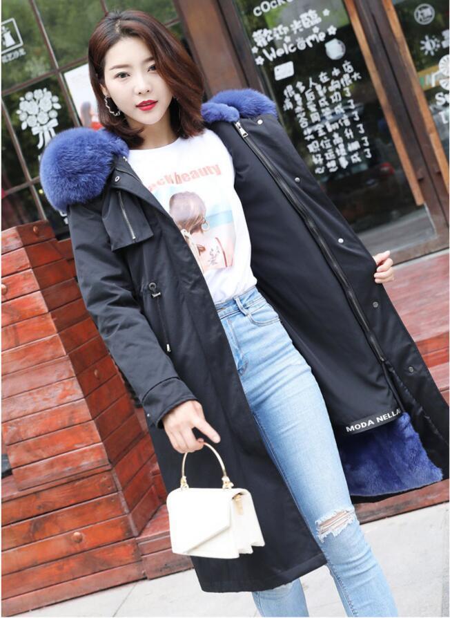 Parka Long 100% Real Fur Collar Warmest Winter Coat For Women