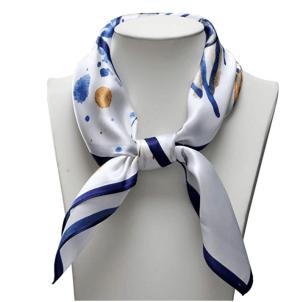 100% Pure Silk Delicate Scarf Neckerchief Small Square Print Scarves Women