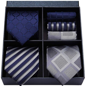 Grid necktie gift sets 100% silk jacquard woven ties wholesale