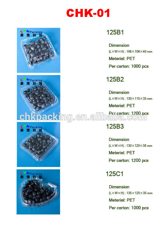 CHK Packing high quality heart shape 125g 250g clear clamshell for blueberry,fresh fruit blister packaging box