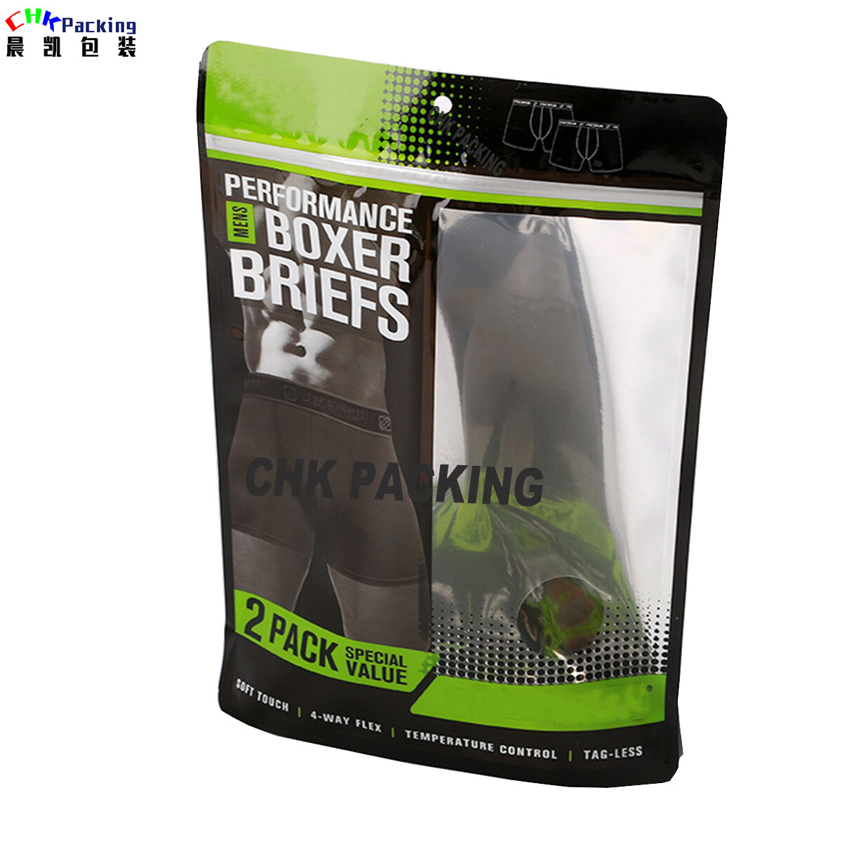 fashionable plastic stand up underwear pouch with ziplock ,plastic packaging bag for men's underwear