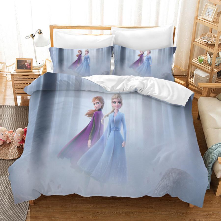 Frozen 2 Official Disney Anna & Elsa Design kids Bedding Duvet Cover King size with Matching Pillow Case