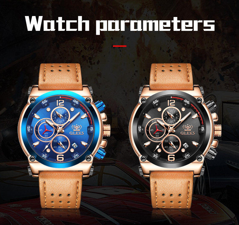 Top Brand Men's Quartz Military Sports Analog Quartz Waterproof Watch Auto Date Luxury Leather Chronograph Watches + Box