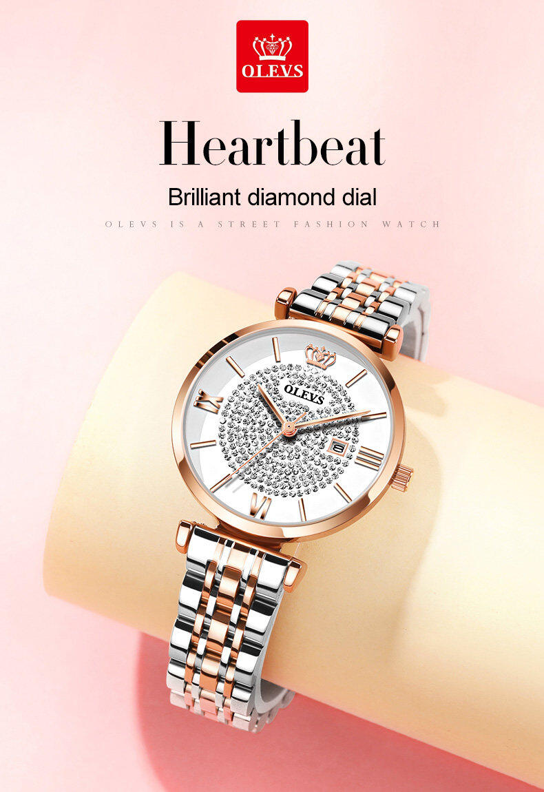 OLEVS Fashion Diamond Starry Rose Gold Ladies Watches Reloj Mujer 2019 New Waterproof Quartz Strap Calendar Display Women Watch