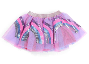 Top Selling New Baby Girl's Rainbow Sequins Pink Tutu Skirt Infant Toddler Ruffles Elastic Waist Tulle Skirt