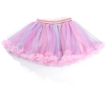 Fashion Baby Girl Rainbow Tutu Skirt Children Kids Elastic Waist Fluffy Lace Hem Tulle Skirt