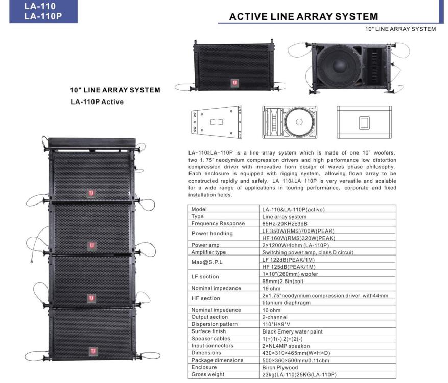 New design LA-110P&LA-18P, 2+1 active system LA-110 Line array single 10'' line Array 1*10''LF,2*1.75''HF