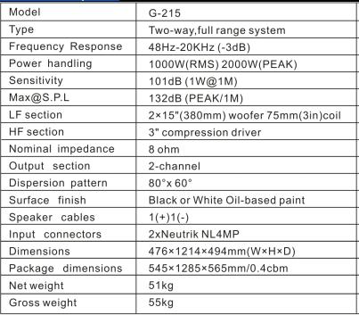 G-215 dual 15''Two-way,Full Range Speaker, pa system G-215 dual 15''Two-way,Full Range Speaker