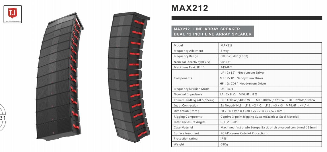 Max212 Dual 12 Inch Three Way Line ArrayMax212 Dual 12 Inch Three Way Line Array
