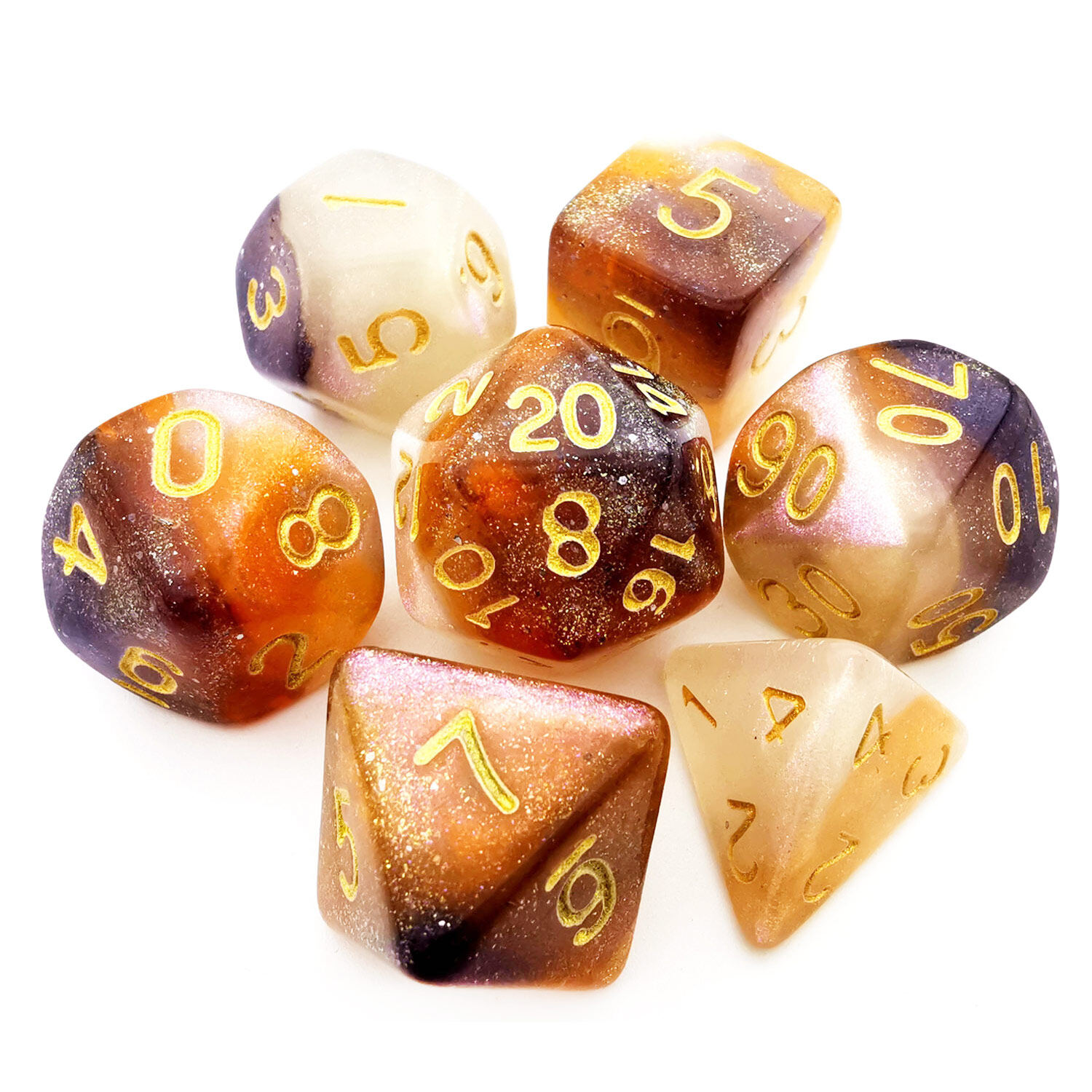 HAOMEJA Colorful Dice D/&D 7 Set 7pcs Polyhedral Dice for Dungeons and Dragons DND 7 Solid Dice D/&D Pathfinder Roll Playing Games Dice Blue Yellow Brown