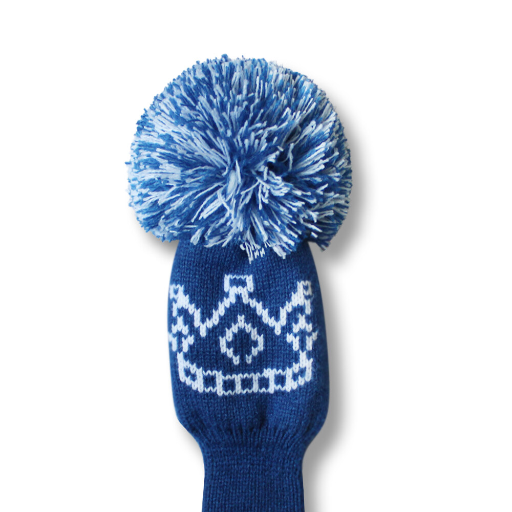 Scott Edward Knit Golf Club Cover With A Fluffy Pom Set Of 5 Crown Pattern Navy Blue White Stripes Driver Head Cover 1 Fairway Headcover 2 Hybrid Ut Head Cover 2 On Sale