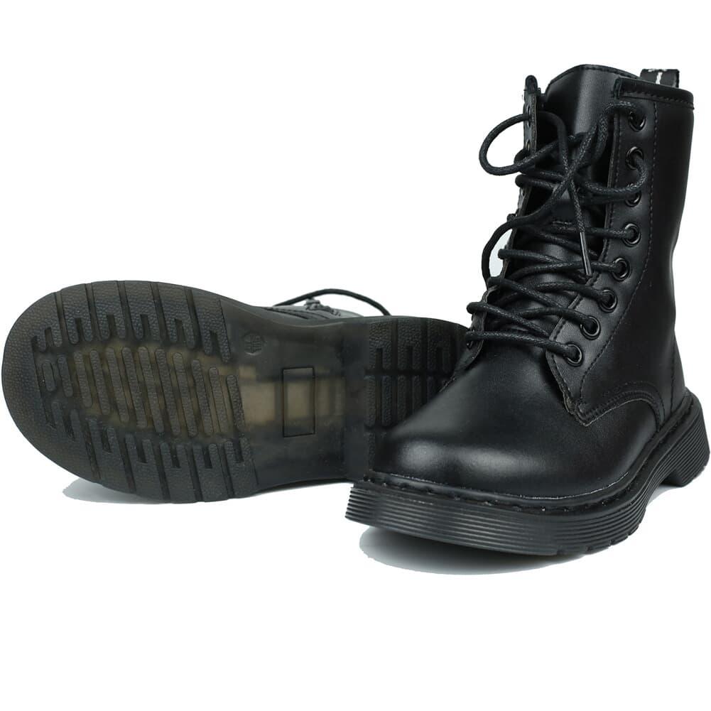 Kids leather waterproof combat mid calf