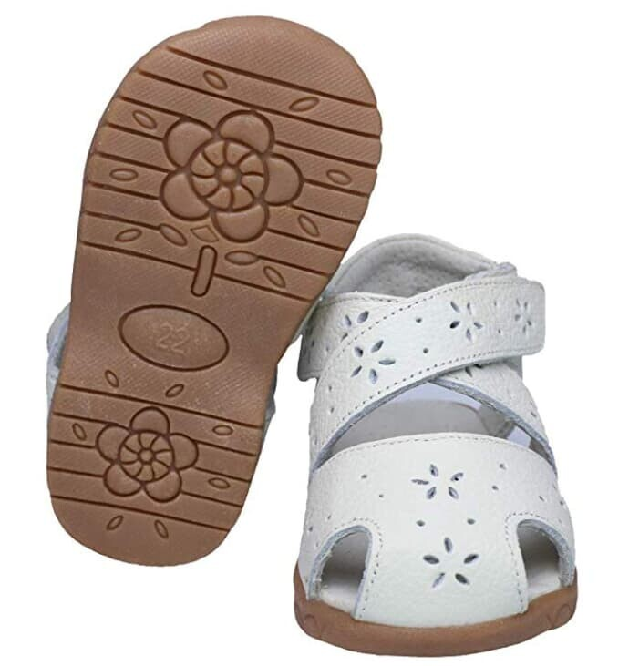 MUYGUAY Baby Girls Sandals Flower Leather Toddler Sandals with Rubber Sole Closed-Toe Sandals