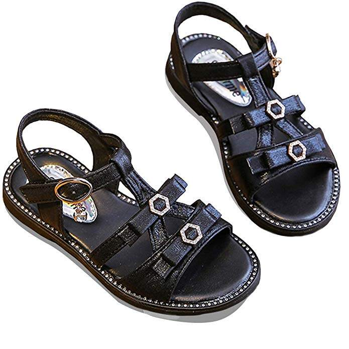 MUYGUAY Girls Glittery Sandals with Adjustable Strap Summer Dressy Shoes for Baby//Toddler//Little Girls