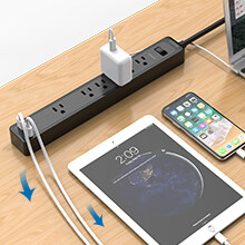 power strip with flat wall plug