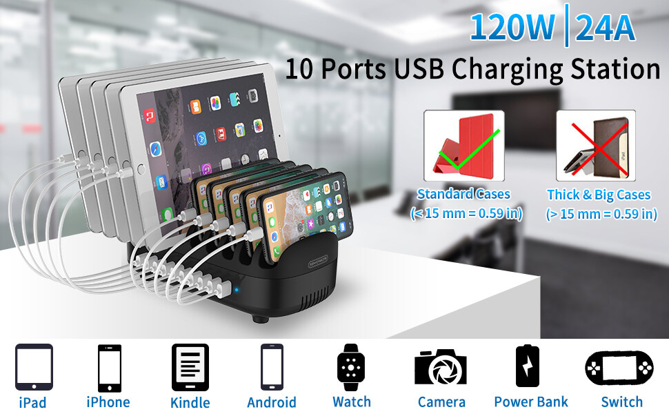 10 ports charging station