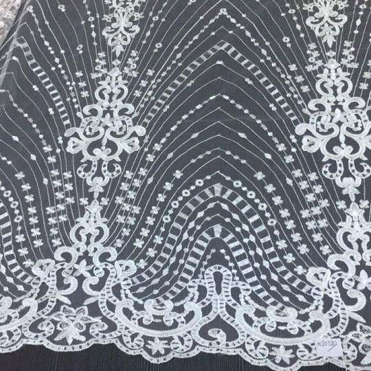 Elegant Floral Bridal Lace Fabric 2019 New Design Embroidery Guipure Lace Fabric PartyProm Embroidery Lace Fabric By The Yard