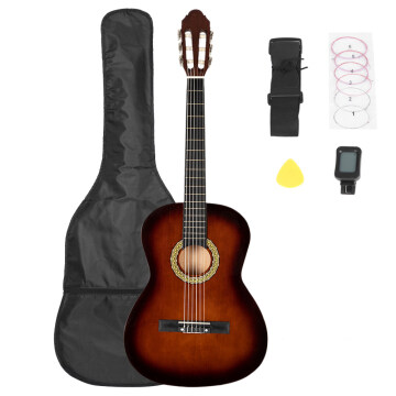 38 inch Classic Guitar with Bag & Board &Belt & Liquid Crystal Tuner & Strings Set Coffee